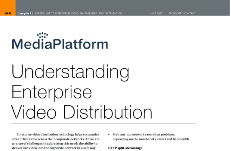 Understanding Enterprise Video Distribution